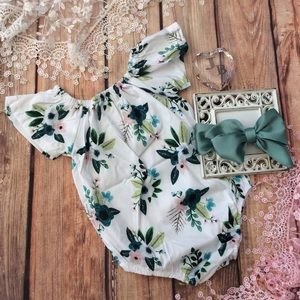7e0a401815db One Pieces - Boutique Baby Girl Romper   Head Wrap
